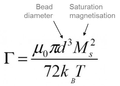 Expression to calculate ration between dipolar magnetic interaction energy and thermal agitation in magnetic bead separation